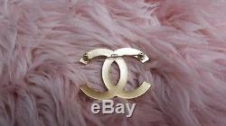 08A CHANEL Gold Camellia Clover Embossed Textured LARGE CC BROOCH Pin