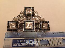 (1) Chanel Women's Crystal Black Metal Brooch Pin Strass Italy Rare New