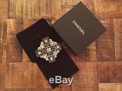 (1) Chanel Women's Runway Black Crystal Metal Brooch Pin Strass Italy New