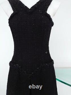 100%Auth CHANEL Lesage Tweed Black Shimer 2pc Dress 34 W Brooch Pin New With Tag