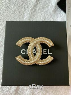 100% Authentic CHANEL LARGE CLASSIC CC LOGO CRYSTAL BROOCH PIN