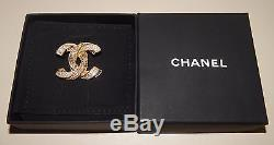 100% Authentic Chanel Brown & Clear Crystal Dragonette CC Logo Brooch Pin NEW