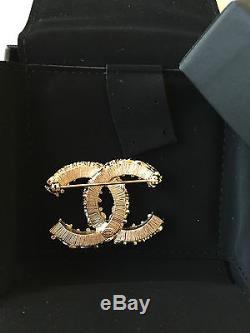 100% Authentic Chanel CC Logo Brand New Black & Gold Brooch with Box, Bag, Receipt