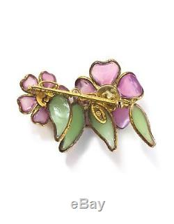 100% Authentic Chanel Vintage Gripoix Flower Brooch