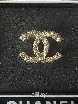 100%Authentic Chanel crystal encrusted logo gold classic pin brooch