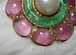 1995 Spring CHANEL Gripoix Poured Glass Purple Green Pearl Flower Brooch FRANCE