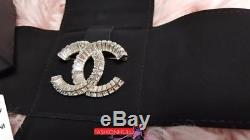 2016 CHANEL Classic Baguette Crystal Large CC Logo Silver Tone Brooch