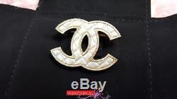 2016 CHANEL Classic Quilted SMALL CC Logo Light Gold Tone Brooch Pin