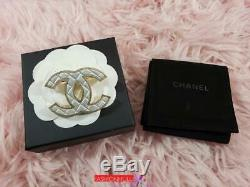 2016 CHANEL Large CC Logo Quilted Brooch Light Gold with Metallic Gray Acrylic