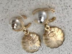 2016 CHANEL Timeless Classic Large Gold PEARL CC Pin BROOCH+EARRINGS SET