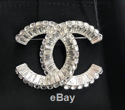 2017 AUTHENTIC CHANEL CC Sparkling Crystal Silver Classic PIN BROOCH NWT $899