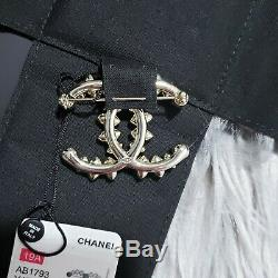 2019 NWT Authentic CHANEL Classic CC Crystal Pearl Gold Tone Large Pin Brooch