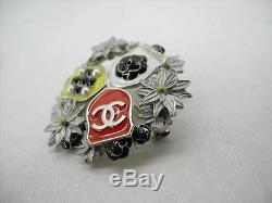 AUTH CHANEL 15A CC Camellia Black Pearls Pin Brooch Corsage