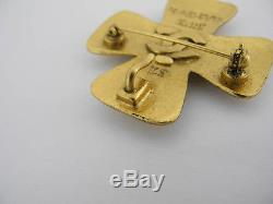 Auth Chanel 99a Gold Color Stone Cross Logos Brooch Ey840