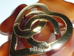 AUTH CHANEL COCO Large Flower Amber 2.25 Pin brooch
