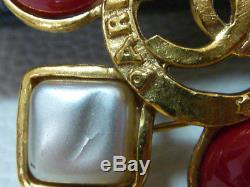 AUTH CHANEL Gold COCO Tricolor Jewel Pin brooch