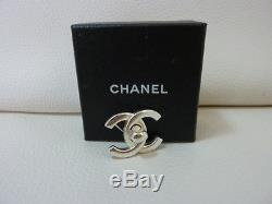 AUTH CHANEL Silver Turnkey COCO Standard Pin brooch