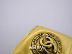 AUTH CHANEL VINTAGE CC GOLDTONE BROOCH withBox EY601