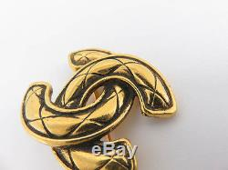 Auth Chanel Vintage CC Matelasse Gold Color Brooch And Earrings 2set Ey518