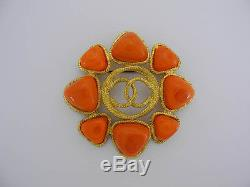 AUTH CHANEL VINTAGE CC ORANGE STONE BROOCH withBOX EY087