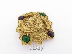 Auth Chanel Vintage Goldtone 94a CC Color Stone Brooch
