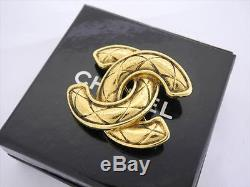 AUTH CHANEL VINTAGE GOLDTONE CC MATELASSE BROOCH WithBox