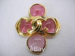 AUTH Chanel 96P Vintage CC Logos Gold Tone Color Stone Pin Brooch Corsage