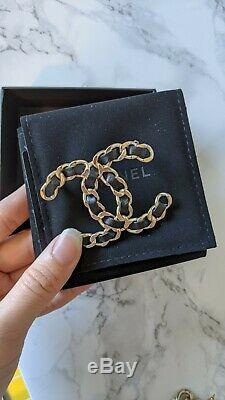 AUTHENTIC CHANEL CC Logo PIN BROOCH Black Braided Leather New 2019
