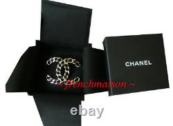 AUTHENTIC CHANEL CC Logo PIN BROOCH Gold Black Leather Huge New 2019 Sold-Out