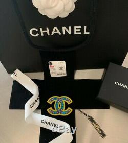 AUTHENTIC NWT CHANEL CC Crystal Brooch Strass Greek Pop Art XL Rare Necklace Pin