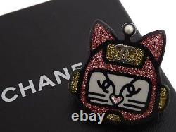 Auth CHANEL 17S Robot Cat Pin Brooch Pink/Black Resin/Silvertone e48009