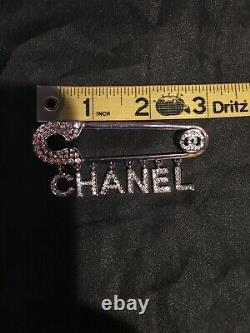 Auth CHANEL Brooch Pin Letter Crystal Logo XL size