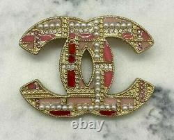 Auth CHANEL CC 2019 Red & Pink Pearl Plaid Brooch Pin Pre owned / W2162