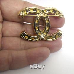 Auth. CHANEL CC Logo PINK Crystal Pearl Gold Tone Brooch Pin