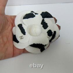 Auth CHANEL CC Logo VIP White and Black Camellia Flower XXL brooch/pin