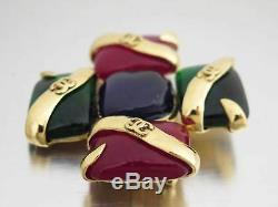Auth CHANEL CC Logo Vintage 94P Brooch Green/Red/Blue Glass Stone/Metal e38003