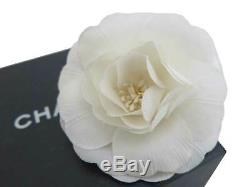 Auth CHANEL Camellia Flower Motif Corsage Brooch Off White Textile withBox e45711