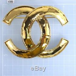 Auth CHANEL Coco Mark 94P Brooch Gold Tone Metal