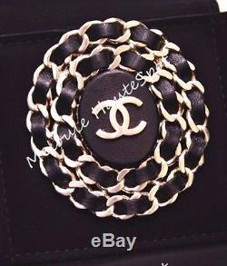 Auth Chanel CC Logo Black Leather Chain Large Round Pin Brooch Bnib