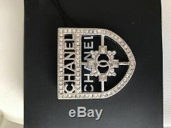 Auth Chanel Ss18 Large Crest Shield Armor Crystal Brooch Pin