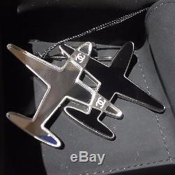 Auth. Nib Chanel Brooch Silver Mirror And Black Double Airplane Chanel + Box