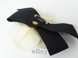 Auth VTG CHANEL Black / White / Pink Flower Corsage Pin Brooch Set GHW wh1054