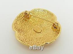 Auth VTG Chanel 95A CC LOGO / Oval Pin Brooch withBOX 2 Set Gold HW r1683