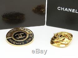 Auth VTG Chanel PARIS 31 RUE CAMBON / 94P CC LOGO Brooch withBOX 2 Set GHW r1682