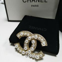 Authenti Classic Chanel Large Cc Logo Gold Anniversary Pearl Brooch Crystals Pin
