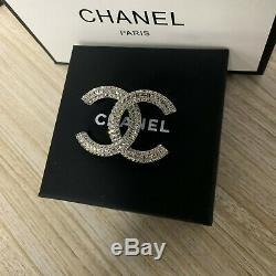 Authentic-2018 Iconic Chanel Crystal Round CC Logo Pin Brooch
