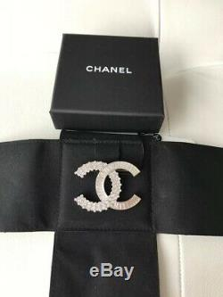 Authentic 2019 Iconic Chanel Crystal Large Baguette CC Logo Pin Brooch