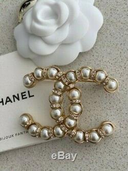 Authentic 2019 Iconic Chanel Pearl Crystal Large CC Logo Pin Brooch