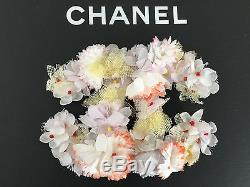 Authentic CHANEL'13 Collection Silk Flowers Huge CC Logo Brooch