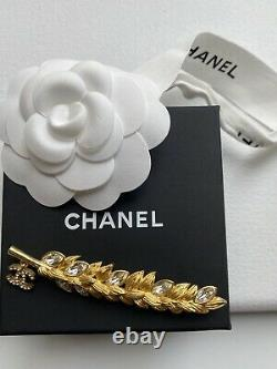 Authentic CHANEL BROOCH PIN CLASSIC CC WHEAT LOGO GOLD TONE CRYSTALS